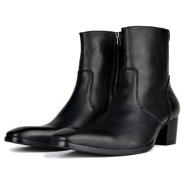 f2f827a276a Plus Size 46 Black Mid-Calf Cowboy Boots Men Fashion Side Zip Pointed Toe High  Heels Genuine Leather Work Boots Man Footwear