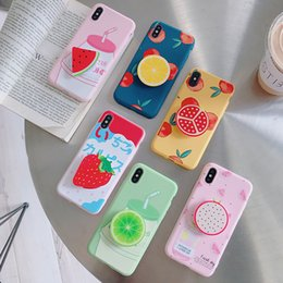 BlackBerry fruits online shopping - Cute Fruit Phone Case With Kickstand For Iphone X XR XS MAX Matte TPU Case For Iphone Plus