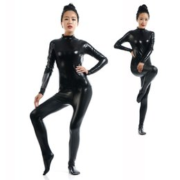 $enCountryForm.capitalKeyWord UK - Hot Sale Sexy Black Full Body Tight Jumpsuit Wetlook Faux Leather Catsuit Halloween Cosplay Stretchable Bodysuit Clubwear