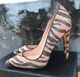 $enCountryForm.capitalKeyWord Australia - 19 brown Horse hair Women's High heeled shoes 8cm 10cm 12cm Cusp Fine heel Single shoes Big code 44 dance wedding Nightclub red bottom shoes