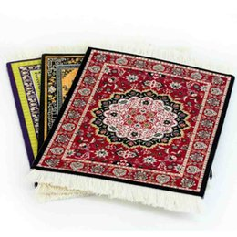 pattern decor NZ - XGZ Persian Mini Woven Rug Mat cute Mousepad Retro Style Carpet Pattern Cup Mouse Pad with Fring Home Office Table Decor Craft