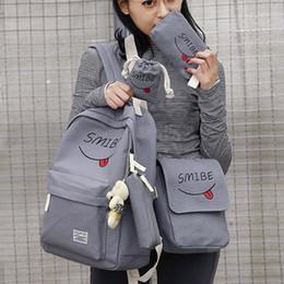 $enCountryForm.capitalKeyWord Australia - WENYUJH 5pcs set Women Backpack Canvas Printing Smile School Bags Teenage Girl Waterproof Nylon Laptop Backpack Pack Mochila
