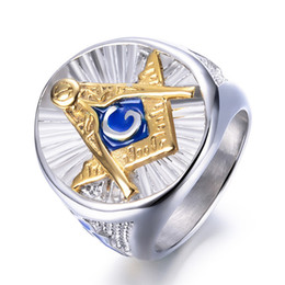 Discount masonic rings shipping - Hip Hop New Masonic Ring Silver Gold Color Big Ring For Men Blue Enamel Gift For Brother Friend Drop Shipping