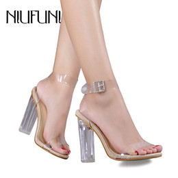 $enCountryForm.capitalKeyWord NZ - Women Lucite Clear Strappy Block Clear Chunky High Heel Open Peep Toe Sandal Ankle Strap Adjustable Buckle Shoes Plus Size 42 Y19070503