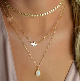 Peace Dove Pendant Australia - 2018 New Peace Dove Soar Flying 3 Layers Crystal Sequins Chain pigeon bird Water Drop Pendant Multilayer Necklace Female