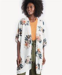 340ddfcb21dc3 2019 Women's Floral Print Sheer Chiffon Loose Kimono Tops Half Sleeve Shawl Chiffon  Cardigan Blouses Casual Beach Cover Ups