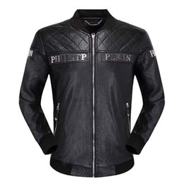 NyloN pu coatiNg online shopping - Leather men s PU metal letter embroidered Piplan coat top fashion motorcycle coat