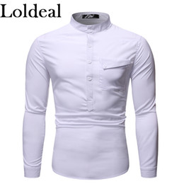 Wholesale colored collar shirt resale online – Loldeal Men Daily Slim Shirt Solid Colored Standing Collar Black Long Sleeve