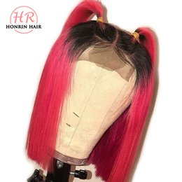 Discount virgin red lace front wig - Honrin Hair Ombre T1b Red Short Bob Lace Front Wig Brazilian Virgin Human Hair Pre Plucked Hairline Full Lace Wig With B