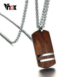 "Necklaces Pendants Australia - Vnox Top Rosewood Men Necklace Unique Qualified Wooden Pendants & Necklaces Stainless Steel Jewelry Adjustable Chain 22-24"" J190531"