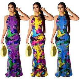 $enCountryForm.capitalKeyWord Australia - 2019 women new summer dress tie dye print sleeveless open back sexy bodycon midi maxi dresses club night party long clothings