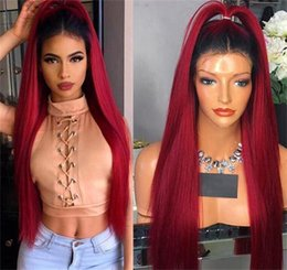 Discount hot hairstyles for short hair - Hot Sale Brazilian Ombre burgundy Silky Straight Lace Front Wigs With Baby Hair 100% Human Hair Lace Wigs for Black Wome