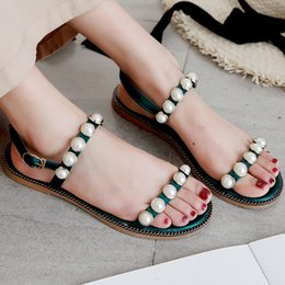 Flat Backing Australia - Women Flat Heels Buckle Strap Sandals Ladies Casual Beading Back Strap Sandals Fashion Girls Comfy Flats Shoes Size 35-40
