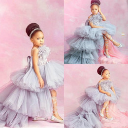 Hi lo girl pageant dresses online shopping - 2020 New Princess Flower Girls Dresses Tulle Lace Appliques Beaded Sleeveless High Low Length Tiered Cheap Birthday Child Girl Pageant Gowns