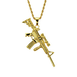 $enCountryForm.capitalKeyWord UK - Hip hop gold gun pendant necklace Hiphop Charm pendant necklace Factory direct high quality fashion Hip hop jewelry for rap rapper men