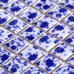 $enCountryForm.capitalKeyWord Australia - White and blue flower porcelain ceramic mosaic tile for garden kitchen backsplash bathroom wall and floor tile DIY home decoration