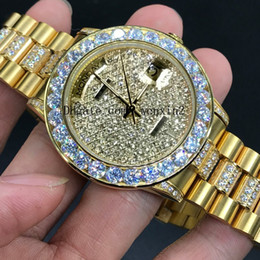 Diamond Man Watch Sale Australia - 1 Color Luxury Watches golden Diamond 41mm Mans Or Woman Hot Sale Good Blank dial President Day Date Watch Little red dots 2813 Automatic