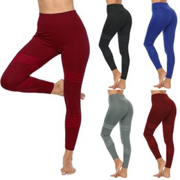 yoga pants models 2019 - 2019 Amazon WISH Explosion models high waist yoga leggings women Solid color four needles six line nine points sports pa