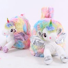 $enCountryForm.capitalKeyWord UK - Baby Girl Unicorn Fur Backpack Cute Children Zipper Schoolbag Mini Kid Toy Doll Backpack For Kidergarten New Plush