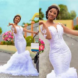 Long sLeeve bead gown online shopping - Long Sleeve Mermaid Wedding Dresses Sheer Jewel Neck Lace Applique ruffles Tiered Skirt African Nigerian Garden Wedding Gown
