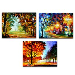 $enCountryForm.capitalKeyWord NZ - Unframed 3 Pieces Canvas Wall Art Autumn Park Landscape Forest Trees Paintings Canvas for Wonderful season Painting Home Living Room Decor