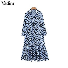 collared mid calf dress UK - Vadim women retro zebra pattern midi shirt dress ruffles animal pattern female casual mid calf dresses vestidos QB667 T5190606