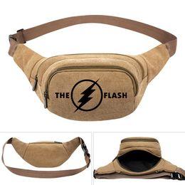 $enCountryForm.capitalKeyWord UK - The flash waistpacks Super hero Barry Allen waist bag Durable belt side packs Khaki canvas bum pocket Outdoor sport waistbag
