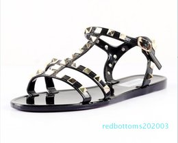 chain open toe sandal NZ - Hot Sale-2019 new female plastic chain word shoes Candy-colored jelly chain flat open toe sandals r03