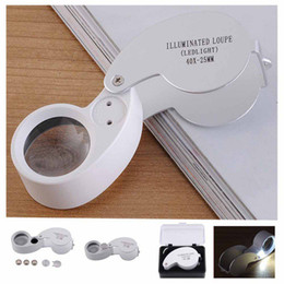 Illuminated Loupe Australia - Outdoor Hiking Portable 40x25mm Jeweler Loupe MINI Illuminated Magnifier Foldable Magnifying Glass Lens with LED Light Tools