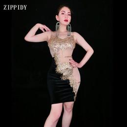 $enCountryForm.capitalKeyWord Australia - New Women Sexy Gold Stones Dance Black Dress Nightclub Outfit stage Sexy Skinny Costume Birthday prom show Stretch Dress