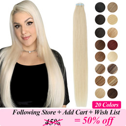 auburn human hair weft NZ - MRSHAIR Tape In Human Hair Extensions Skin Weft Blonde Natural Hair Machine Remy Straight Brown Hair Invisible On Adhesives 20pc