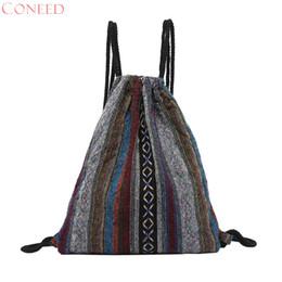 $enCountryForm.capitalKeyWord NZ - CONEED Women Canvas Drawstring Bag Fashion Floral Women Folk-Custom Hand Bag Printing Striped Backpack Bucket No26