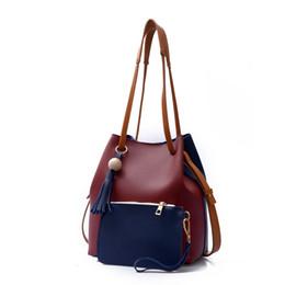 Brief Bags Australia - good quality 2019 Fashion Women Shoulder Bags Pu Leather Casual Handbags Hit Color Tassel Brief Korea Bucket Composite Bag
