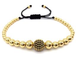 $enCountryForm.capitalKeyWord Australia - 2019 Fashion 6mm Beads Braided Macrame for Men Bracelet Pave Black CZ Ball Connector Fashion Bangle Jewelry Gift