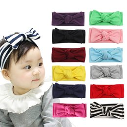 Wholesale 2019 New Solid Color Baby Hair Band Girl Twist Knotted Nylon Stretch Hair Accessories Baby Girl Bow Band Head Wear