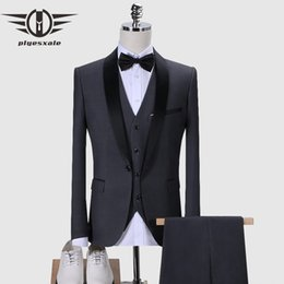 men burgundy suit for weddings NZ - Plyesxale Dark Blue Black Grey Burgundy Suit For Men 2019 Slim Fit Men's 3 Piece Wedding Suits Shawl Collar Prom Tuxedo Q168