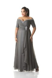 $enCountryForm.capitalKeyWord UK - Grey Mother of the Bride Dresses Plus Size Off the Shoulder Cheap Chiffon Prom Party Gowns Long Mother Groom Dresses Wear