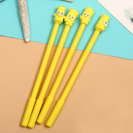 Pineapple Gel Australia - 4 PCs Korean Fresh Pineapple Head Neutral Pen Simple Long Nose Yellow Pineapple Black Neutral Pen