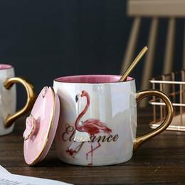 Venta al por mayor de NEWYEARNEW Flamingo Cerámica Tazas Con paja Taza Drinkware Agua Café Taza leche niñas desayuno Amantes San Valentín Regalos