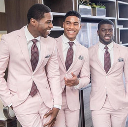 2019 New Dusty Pink Wedding Tuxedos Slim Fit Groom Suit Custom Made Groomsmen Abiti da ballo Prom (Jacket + Pants) Two Button Black Couple Day