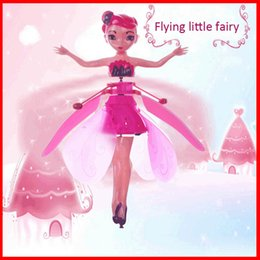 Drones leD lights online shopping - 2019 DIY Flying Fairy Dolls Toy Mini RC Drone Infrared Induction Control LED Light Flying Fairies Doll Helicopter Toys for Girls Xmas Gift