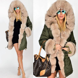 9b52ff60cb9 Womens Faux Fox Fur Parka Long Coat Ladies Camouflage New 2018 Winter  Padded Jacket Fur Collar Hooded Overcoat Plus Size 4XL 5XL