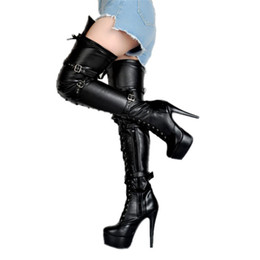 elegant heel snow boots Australia - Hot Sale- Ladies Elegant High Heel Over Knee Boots Fisheyes+Buckles Sexy Dance Party Club Booties Platform Large Size Fashion Booty Shoes
