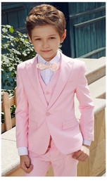 Formal vest boys online shopping - Fashion Pink Boys Formal OccasionTuxedos Peak Lapel One Button Kids Wedding Tuxedos Child Suit Holiday clothes Jacket Pants Tie Vest