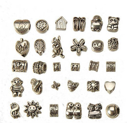 $enCountryForm.capitalKeyWord Canada - european charms beads mixed set diy metal big hole antique silver bracelets wholesales bangles necklaces pendants jewelry findings 150pcs