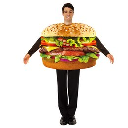 Wholesale halloween costumes resale online - Funny Cosplay Halloween Costumes Men Women Hamburger Beer Sausage Beaf Stylish Theme Cosplay