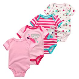 $enCountryForm.capitalKeyWord NZ - 2019 4pcs lot Baby Boy Clothes Unicorn Cotton Newborn Short Sleeve Bodysuit Baby Girl Clothes Cartoon Unisex Ropa Bebe Y19061201