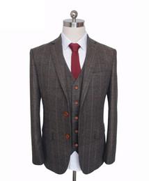 Brown Herringbone Suit Australia - WL Custom Made Woolen dark brown Herringbone Tweed British style Mens suit tailor slim fit Blazer wedding men suit
