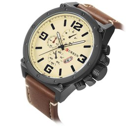 $enCountryForm.capitalKeyWord Australia - CURREN 8230 Brand Fashion Casual Quartz Wrist Watch Men Large Dial Waterproof Quartz Wristwatches Black Strap for Leather