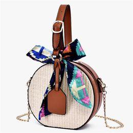 Chic Rattan Chain Shoulder Bag Round Messenger Crossbody Bags for Women Beach Handbag Bags with Scarves Bolsa